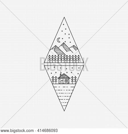 Cabin, Cottage Line Art Logo Vector Illustration Design. Mountain Cottage Symbol Outline