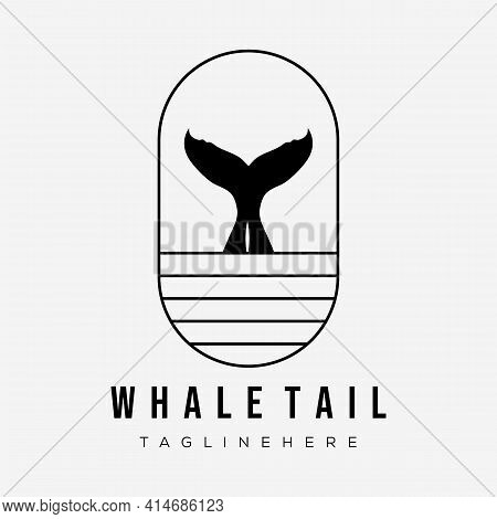 Whale Tail Icon Badge. Whale Tail Logo Vector Illustration Design. Wave Fish Logo