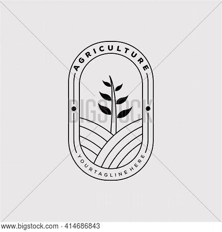 Agriculture Or Farm Badge Logo Vector Illustration Design. Agriculture Or Farm Line Art Icon