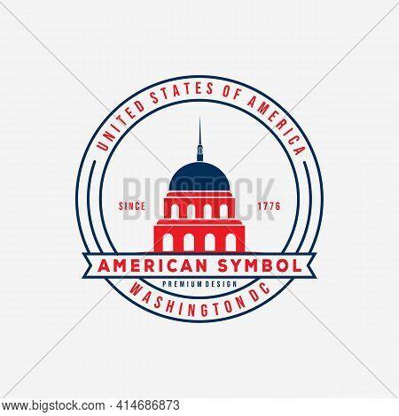 US washington capitol badge logo vector illustration design. american symbol