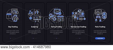Trading Styles Onboarding Mobile App Page Screen With Concepts. Intraday, Swing Trade Walkthrough 5