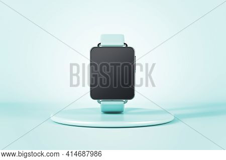 Smart Watch With A Turquoise Wristband, On The Stand, Turquoise Background. Mockup, 3d Rendering. Ad