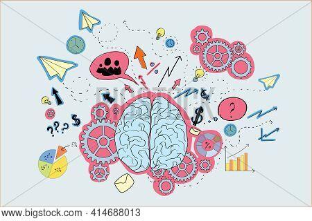 Brain Icons Sketch, Blue, Pink, Brainwork, Brainstorm Concept. 3d Rendering