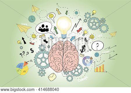 Brain Icons Sketch, Pink, Green, Brainwork, Brainstorm Concept. 3d Rendering