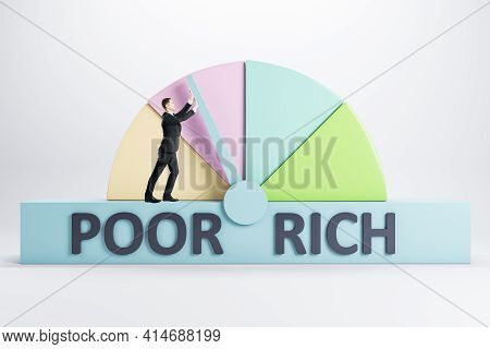 Success Concept With Poor And Rich Scale And Man Trying To Achieve Rich Point On Light Background