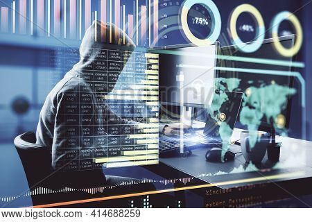 Data Theft Concept With Hacker Working On Computer And Digital Interface With Stats And Big Data Ind