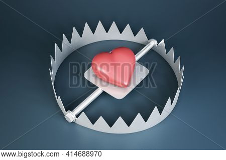 Catch The Heart Concept With Red Heart In A Trap On Dark Background. 3d Rendering