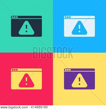 Pop Art Browser With Exclamation Mark Icon Isolated On Color Background. Alert Message Smartphone No