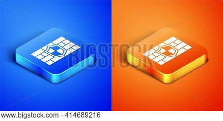 Isometric Shield With Cyber Security Brick Wall Icon Isolated On Blue And Orange Background. Data Pr