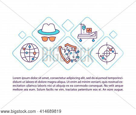 Unidentified Virus Spread Concept Line Icons With Text. Ppt Page Vector Template With Copy Space. Br