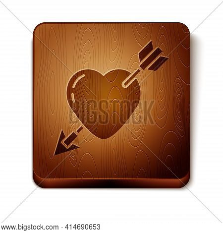 Brown Amour Symbol With Heart And Arrow Icon Isolated On White Background. Love Sign. Valentines Sym