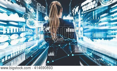 Imaginative Visual Of Business Woman Investment Specialist And Advisor With Business Data Chart Grap