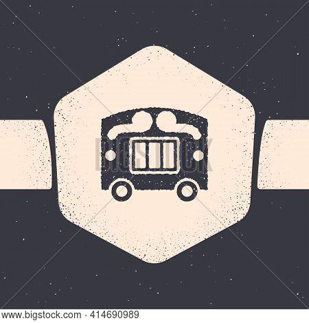Grunge Circus Wagon Icon Isolated On Grey Background. Circus Trailer, Wagon Wheel. Monochrome Vintag