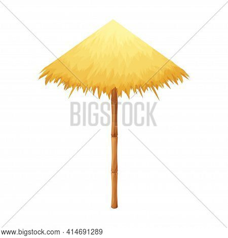 Beach Umbrella From Straw And Bamboo In Cartoon Style Isolated On White Background. Hawaiian Tiki Pa