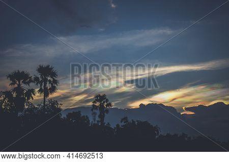 A Rare Look At An Iridescent Cloud. Fire Rainbows Or Rainbow Clouds. Iridescent Pileus Cloud Colorfu