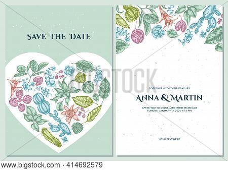 Wedding Invitation Card With Pastel Ficus, Iresine, Kalanchoe, Calathea, Guzmania, Cactus Stock Illu