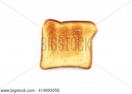 Single Toasted Toast Isolated On White Background.