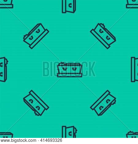 Blue Line Open Coffin With Dead Deceased Body Icon Isolated Seamless Pattern On Green Background. Fu