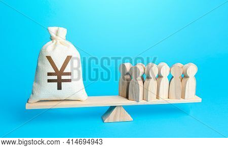 Group Of People And Yuan Or Yen Money Bag On Weight Scales. Staff Maintenance. Payment Of Staff Sala