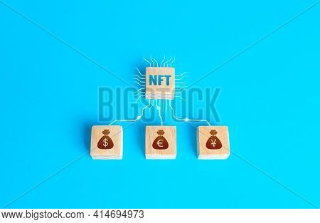 Blocks Nft Non-fungible Token And Money Connected By Lines. Selling Digital Assets And Art Through A