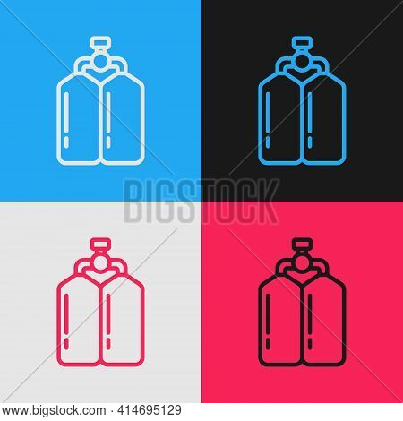 Pop Art Line Aqualung Icon Isolated On Color Background. Oxygen Tank For Diver. Diving Equipment. Ex
