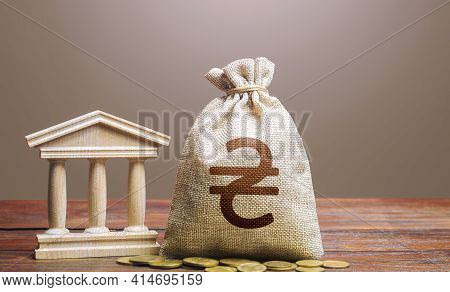 Ukrainian Hryvnia Money Bag And Bank / Government Building. Tax Collection And Budgeting. Monetary P