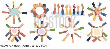Cultural Diversity Day Vector Set Isolated. Diverse Human Hands United For Social Freedom, Peace, Sh