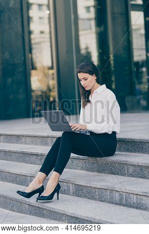 Full Length Body Size Photo Business Woman Doing Project Laptop Working Freelancer Sitting Formal We