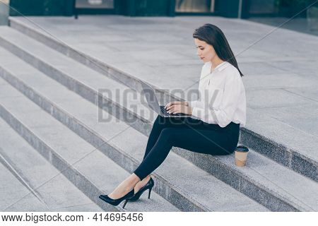 Full Length Body Size Photo Of Business Woman Doing Project On Laptop Freelancer Sitting In Formal W