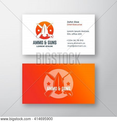 Ammo And Guns Abstract Vector Logo And Business Card Template. Crossed Riffle, Sword And Arrow Head