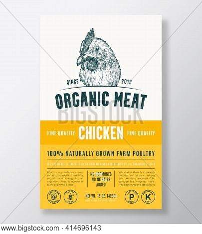 Organic Meat Abstract Vector Packaging Design Or Label Template. Farm Grown Poultry Banner. Modern T