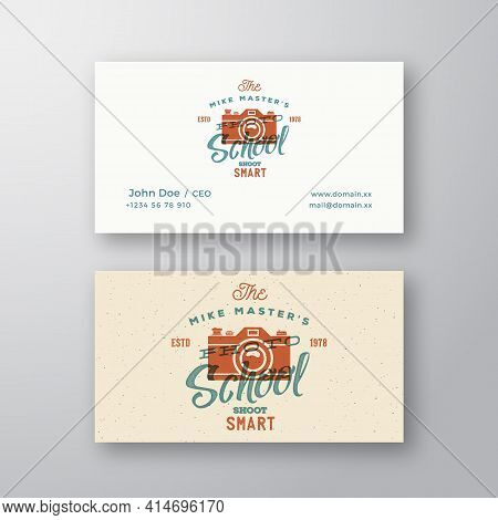 Photography School Retro Abstract Vector Logo And Business Card Template. Camera With Typography And