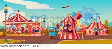Entertainment Playground In Family Amusement Park, Carnival Circus Tent, Carousels Rollercoaster On