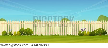 Fence And Green Lawn, Rural Landscape Background. Vector Garden Backyard With Wooden Hedge, Trees An