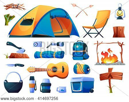 Camping Set Isolated Tourist Equipment Icons. Vector Hiking Tent, Sleeping Bag And Campfire, Guitar