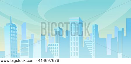 Big City Panorama At Distance At Daytime, Cityscape Background. Vector Skyscrapers And Family Houses