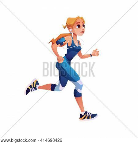 Fitness Running Girl With Mp3 Player Isolated Cartoon Style Character. Vector Cute Woman Design For