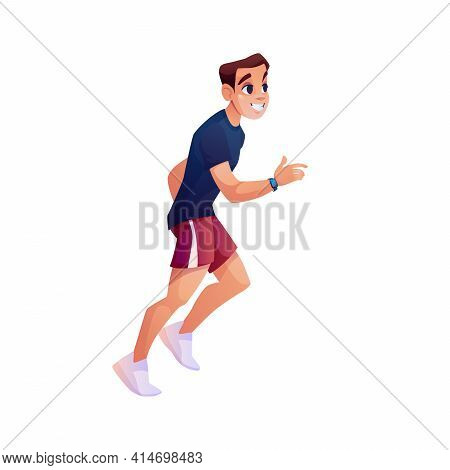 Fitness Running Man With Fitness Band Tracker Isolated Cartoon Style Character. Vector Sportive Guy
