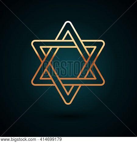 Gold Line Star Of David Icon Isolated On Dark Blue Background. Jewish Religion Symbol. Symbol Of Isr