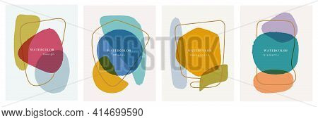 Abstract Blobs Watercolor Backgrounds, Banners, Posters Brochures Design Elements Set. Vector Pastel