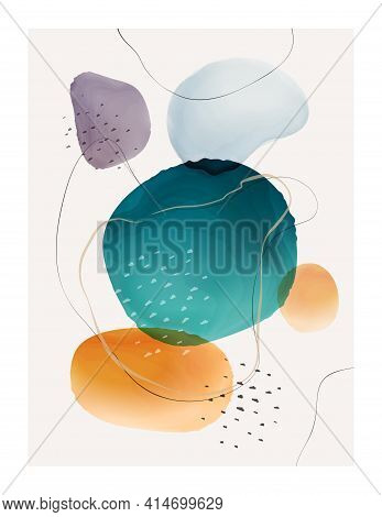 Abstract Watercolor Design With Blobs And Brush Strokes, Shapes And Frame, 3d Texture Background. Ve