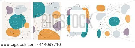 Watercolor Design Of Banner, Poster Or Brochure With Blobs And Brush Strokes, Shapes And Frame, Text
