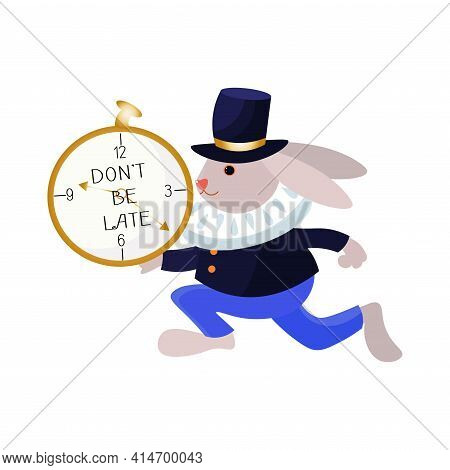 Rabbit From Alice In Wonderland Running With Clocks.