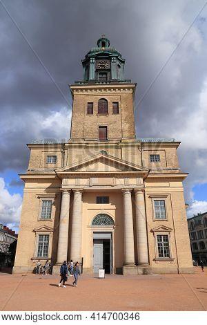 Gothenburg, Sweden - August 26, 2018: People Visit The Cathedral (domkyrkan) Of Gothenburg, Sweden.