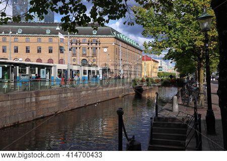 Gothenburg, Sweden - August 26, 2018: Blue Tram In Gothenburg, Sweden. Gothenburg Has Largest Tram N