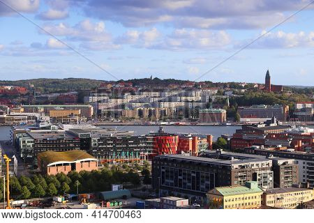 Gothenburg, Sweden - August 26, 2018: City Skyline View With Lindholmen And Masthugget Districts Of