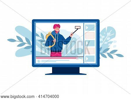 Traveling Man With Camera - Tourism And Travel Blogging Concept, Flat Cartoon Vector Illustration Is