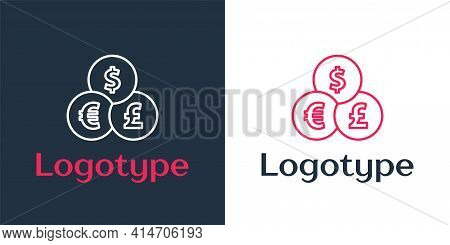 Logotype Line Currency Exchange Icon Isolated On White Background. Cash Transfer Symbol. Banking Cur