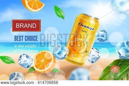 Soft Drink Orange Ads Witn Orange Drink Aluminium Can, Ice Cubes On Tropical Beach Vector