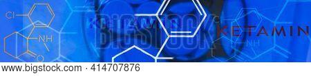 Ketamine. Dissociative Ketamine. Chemical Formula, Molecular Structure. Ilustration Background For Y